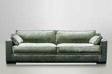 JOSUA, Samt Sofa Landhausstil grün 4 Sitzer, modernes Samtsofa grün vintage Samt