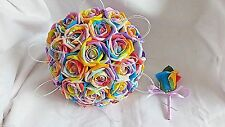 WEDDING FLOWER BOUQUET RAINBOW ROSES & BUTTONHOLE BRIDES BRIDESMAID ALL SIZES