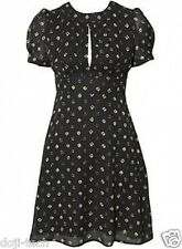 Topshop 40s Vtg Black Retro Abstract Deco Floral Print Crepe Tea Dress 10 38 US6