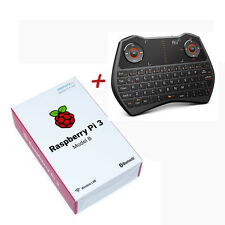 Raspberry Pi 3 Model B + White Rii i28c Mini Wireless QWERTY keyboard+TouchPad+