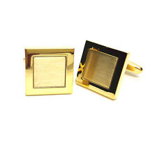 Polished & Brushed Gold Plated Classic Mens Gift For him Cufflinks
