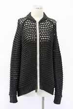 NWT. $1475 Brunello Cucinelli Women's Chunky Knit Monili Trim Zip-Up Cardigan M