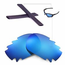 New Walleva Ice Blue Vented Lenses Black Earsocks For Oakley Jawbone