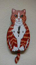 Wagging Tail Cat  Wall Clock for Cat Kitten Lovers Orange Tabby Cat