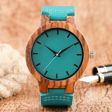 Trendy Genuine Leather Straps Men Bamboo Wooden Analog Wrist Watch Blue Casual