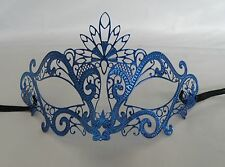 Blue Filigree Metal Masquerade Mask Silver Diamonte Express Post Available