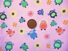 PINK WITH A PATTERN OF OWLS IN MULTICOLOURS, CHILDRENS 100% COTTON FABRIC F.Q.