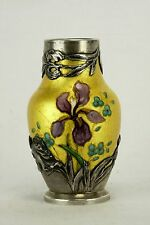 Antique French Sevres Porcelain with Silver Overlay Vase ca1900