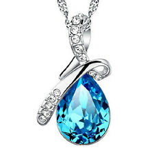 Stylish Jewelry 925 Sterling Silver Water Drop Blue Crystal Pendant Necklace