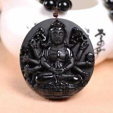 100% Natural obsidian hand-carved good luck guanyin Buddha pendant necklace