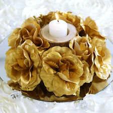 8 Gold CANDLE RINGS with SILK ROSES Wedding Flowers for Centerpieces