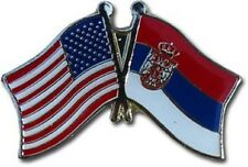 USA - SERBIA  FRIENDSHIP CROSSED FLAGS LAPEL PIN - NEW - COUNTRY PIN