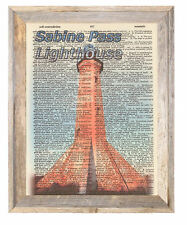 Sabine Pass Lighthouse Louisiana Altered Art Print Upcycled Vintage Dictionary