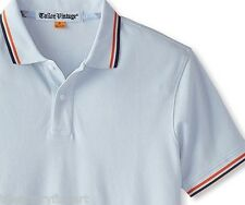 TAILOR VINTAGE Men's Tipped Pique Knit Polo Shirt SMALL Cornflower (Blue) *NWT*