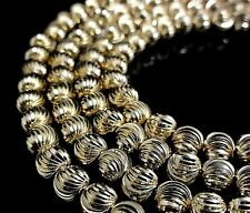 "Men's New 28-1/2Inch"" Yellow/Silver Finish Moon Cut Ball Bead Chain Necklace 6mm"