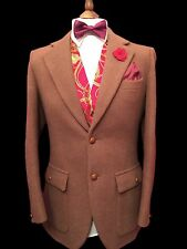 DUNN & CO HARRIS TWEED 38 REG SUPERB VINTAGE GENTS CAMEL SPORTS/COUNTRY JACKET,