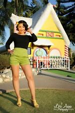 LAURA BYRNES PINUP GIRL CLOTHING  OLIVE GREEN HIGH WAISTED RETRO SHORTS SIZE L