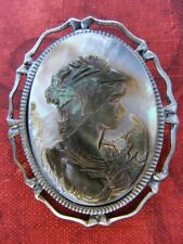 Mother of Pearl Retro 3D Lady Cameo Pin Brooch Pendant Original Design Abalone