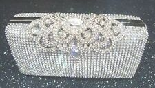 Bling Silver Diamante Diamond Crystal Evening bag Clutch Purse Party Bride Prom
