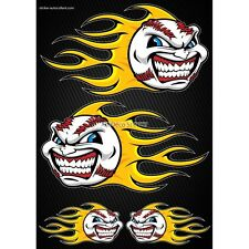 Stickers autocollants Moto casque réservoir Flames Baseball Format A4 2501