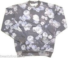 NWT $55 Topman by Topshop Charcoal Floral Oversized Sweatshirt sz XS