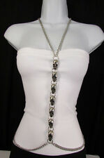 New Women Silver Big Multi Metal Skulls Body Chain Long Necklace Fashion Jewelry