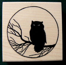 """P1 Owl and Moon rubber stamp-retro art 2.25x2.25"""" WM"""