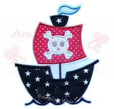 Piratenschiff Aufbügler  Aufnäher Bügelbild schiff boot skull patch