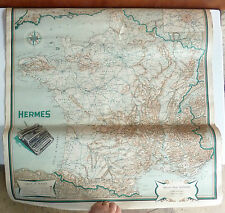 Ancienne carte de France de style école carte publicitaire HERMES french antique