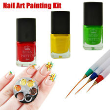 Nail Art DIY Painting Kit Stamping Polish Finger Ring Palette & Drawing Brushes