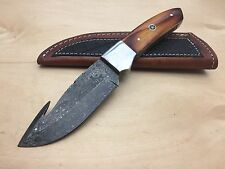 Full Tang Damascus Hunting Knife Camel Bone Handle Leather Sheath Gut Hook