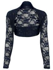 LADIES CROPPED LACE LONG SLEEVE SHRUG WOMENS BOLERO LACE CARDIGAN JACKET TOP