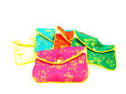 """Silk Jewelry Chinese Pouch Bag, Assorted Colors W/Zipper - 4.5""""x3.5"""" 12PCS/PK"""