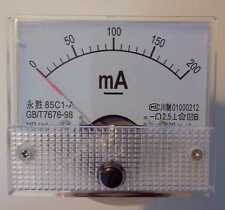 0- 200mA DC Ammeter Amp Panel Meter  Analogue Analog Clear NEW
