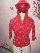 BABY PHAT Bright Red w/ Cat & Logo Print Hooded Zip 3/4 Sleeve Zip Jacket M