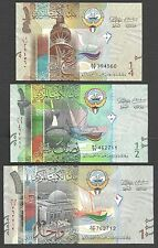 Kuwait Banknote 1/4 1/2 1 Dinar - P 29 30 31 - 2014 - Lot of 3 - UNC