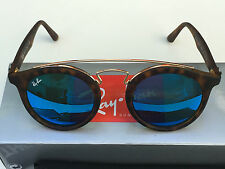 Authentic RAY-BAN DOUBLE BRIDGE Blue Mirror/Mate Tortoise RB4256F 47mm 6092/55