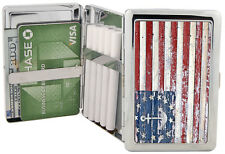 Nautical American Flag Silver Metal Cigarette Case RFID Wallet Chrome 100's