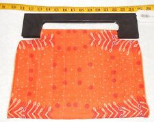 NWT KenZania African handcrafted orange bandana print cloth bag wooden handles