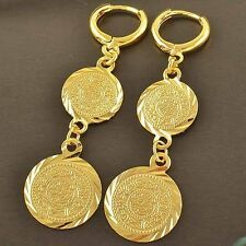 24K Yellow Gold Filled Womens Coin Charm 50mm Long Dangle Punk Earrings