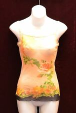 Auth JEAN PAUL GAULTIER Maille Femme Rose Floral Print Mesh Tank Top Size S