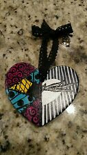 the nightmare before Christmas art handmade ceramic heart ornament jack/sally