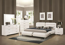 STANTON - Ultra Modern 5pcs Glossy White King Platform Bedroom Set New Furniture