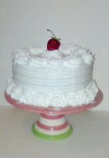 CLASSIC WHITE FAKE CAKE WITH ROSETTE TRIM, HOUSE STAGING / DECOR / PHOTO PROPS