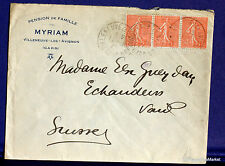 FRANCE SEMEUSE Yt 199 sur lettre  SUISSE- 1927 FA75