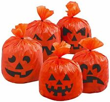Halloween Ideas - 20 x Pumpkin Hanging Decoration Tree Leaf Party Bags FREE P&P