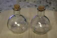 2 CLEAR ROUND GLASS BOTTLES / WITH CORK