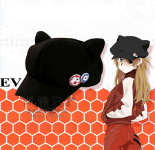 Cos Cosplay Eva Evangelion Asuka Langley Cat Ear Plush Hat Peaked Cap Casquette