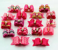 20 Pink & Hot Pink Girl Yorkie Dog Grooming Pet Puppy bow ShihTzu Poodle Biewer