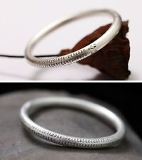 Wrist Gift 925 Sterling Silver 7mm Hollow Bangle with The Heart Sutra Size 64mm